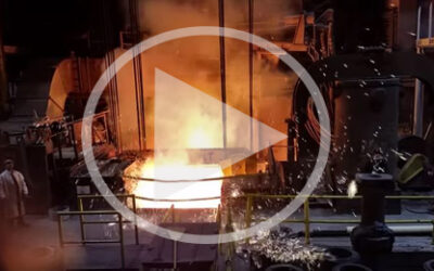 Video: Electric arc furnace tapping into ladle
